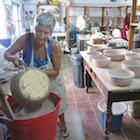 Keeping busy in the pottery